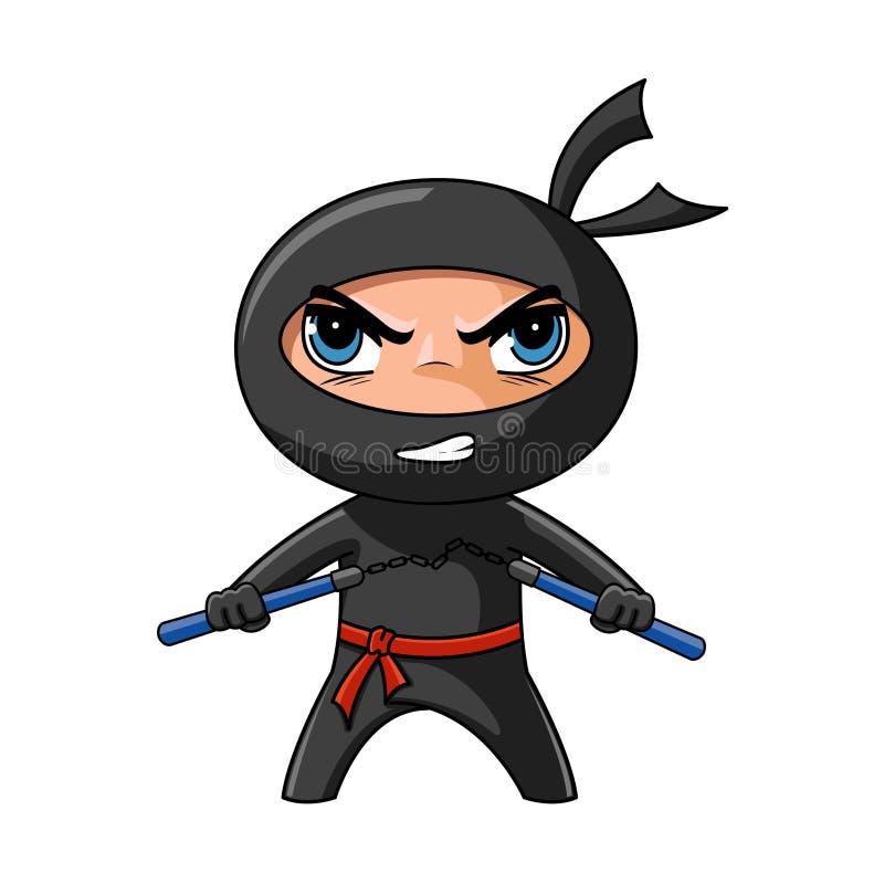 Ninja com nunchaku ilustração do vetor