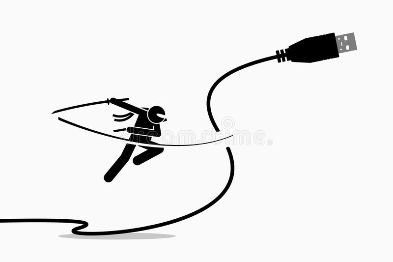 Ninja cuts USB cable plug. Vector artwork depicts the concept of wireless connection stock illustration
