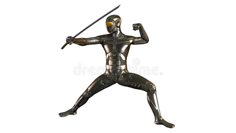 Ninja cyber Warrior con la spada illustrazione vettoriale