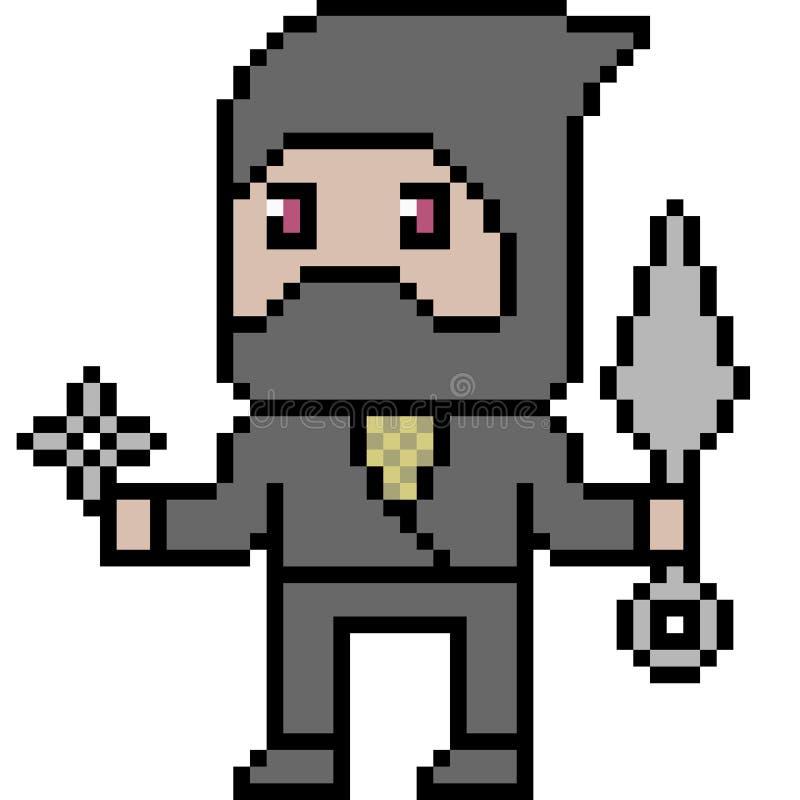 Ninja d'art de pixel de vecteur illustration libre de droits