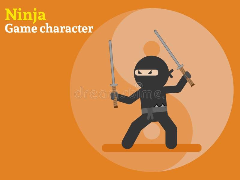 ninja 2D spelkarakter Vector illustratie stock illustratie