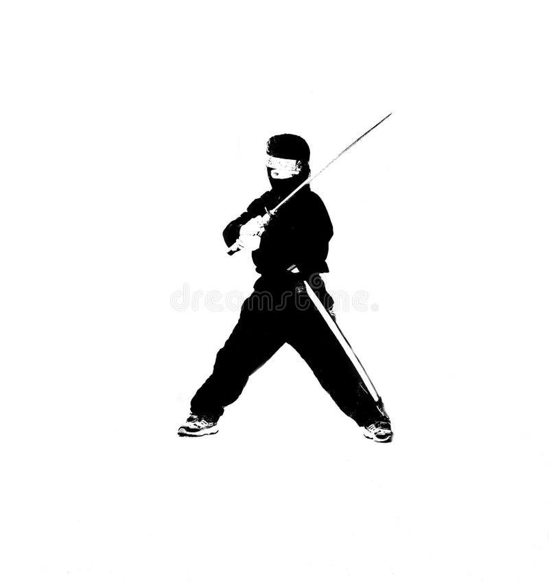 Ninja da criança no preto fotografia de stock
