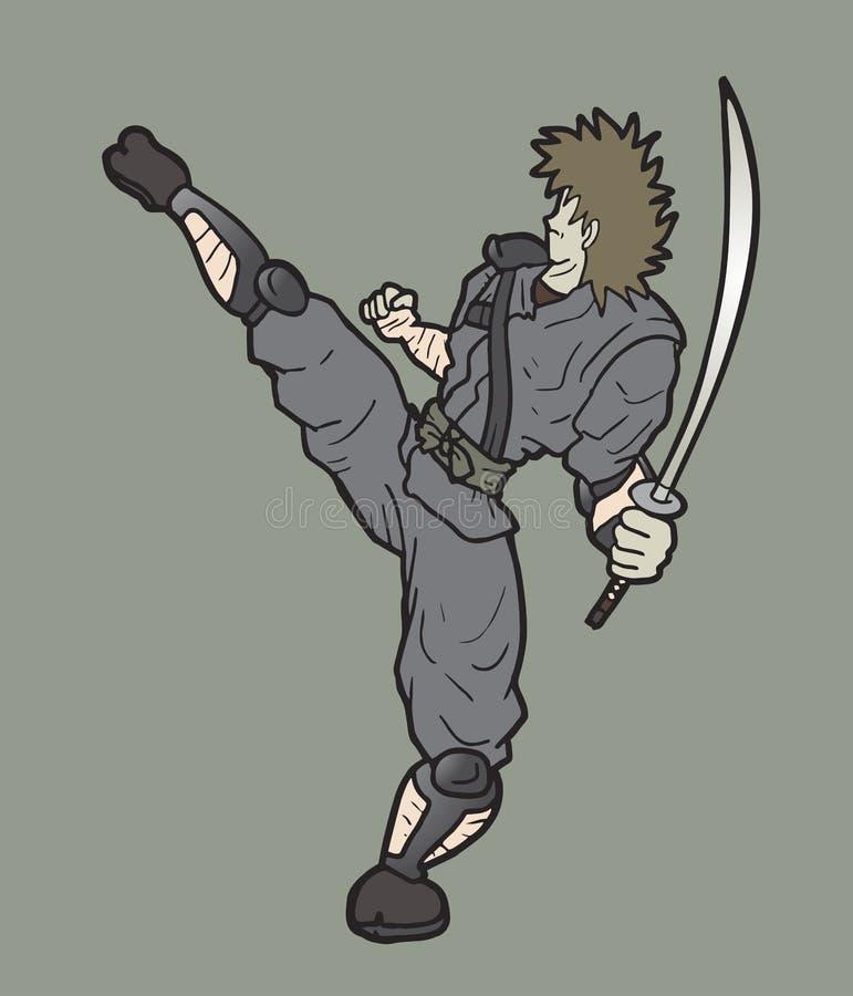 Ninja de la lucha ilustración del vector