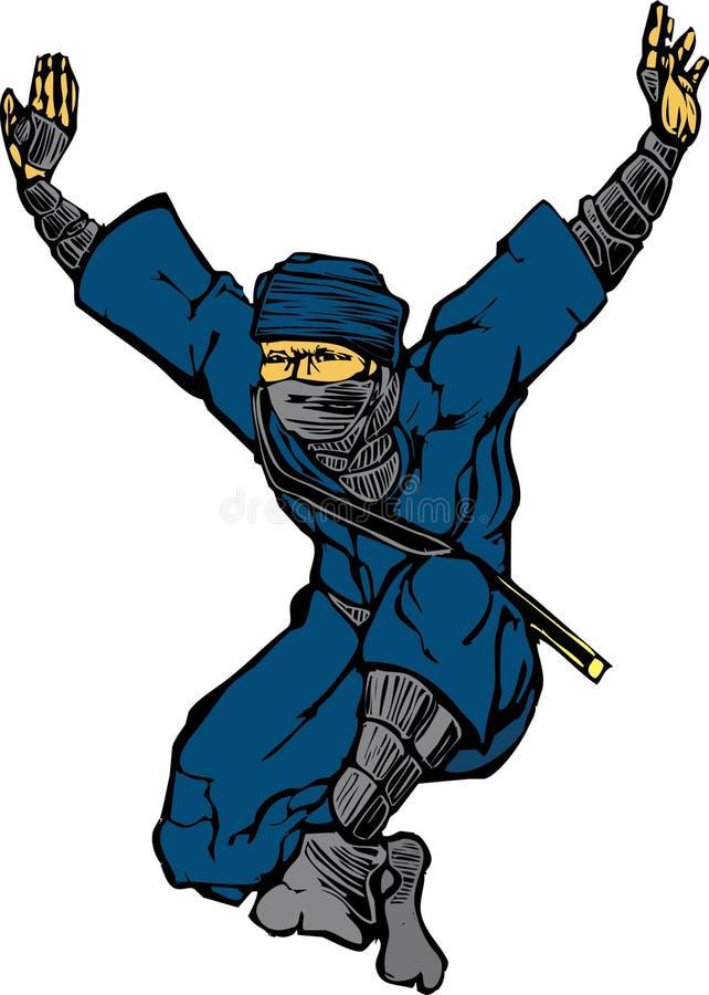 Ninja de salto ilustração stock