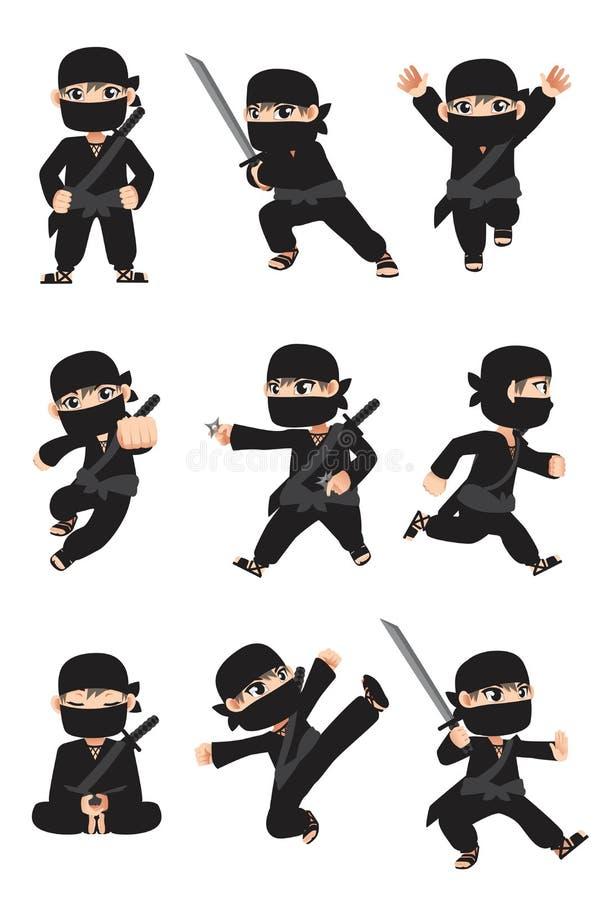 Ninja del cabrito stock de ilustración
