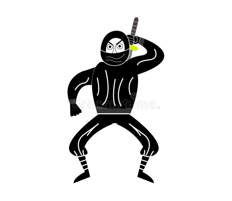 Ninja di sguardo arrabbiato royalty illustrazione gratis