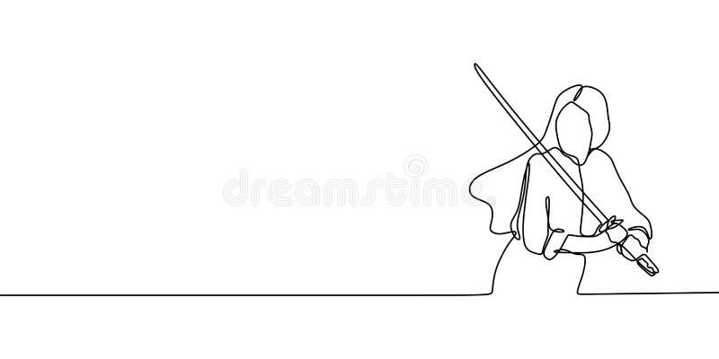 Ninja di signora una linea continua disegno di arte illustrazione vettoriale