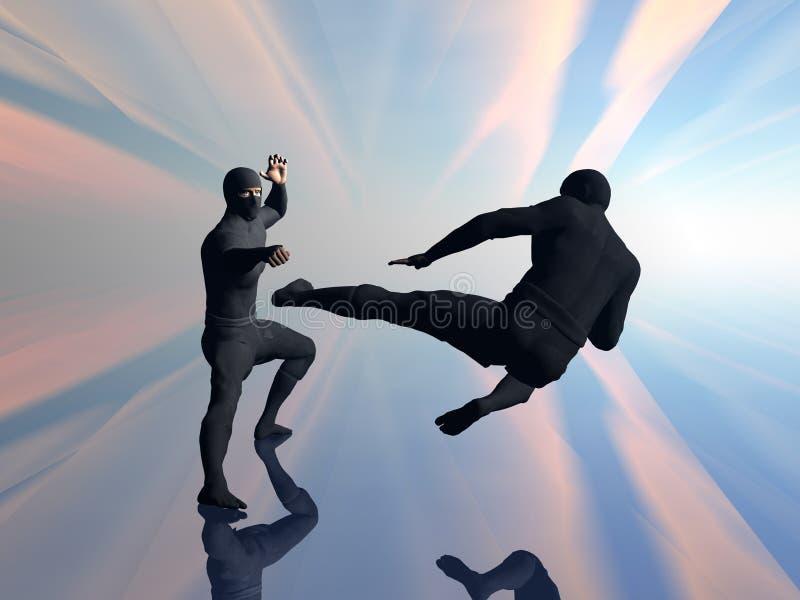 Ninja dos en la lucha 2. ilustración del vector
