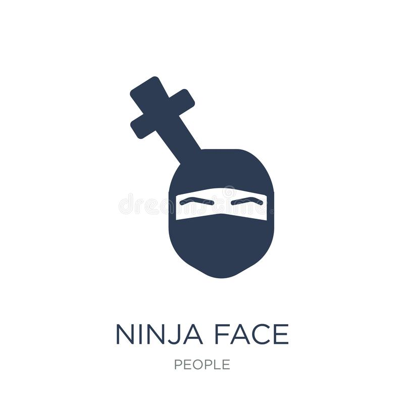Ninja enfrenta o ícone O vetor liso na moda Ninja enfrenta o ícone no CCB branco ilustração stock