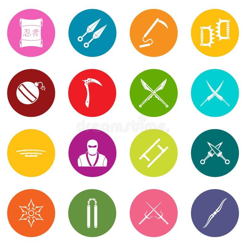 Ninja equipa iconos sistema de muchos colores libre illustration