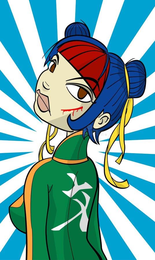 ninja för tecknad filmteckengal. stock illustrationer