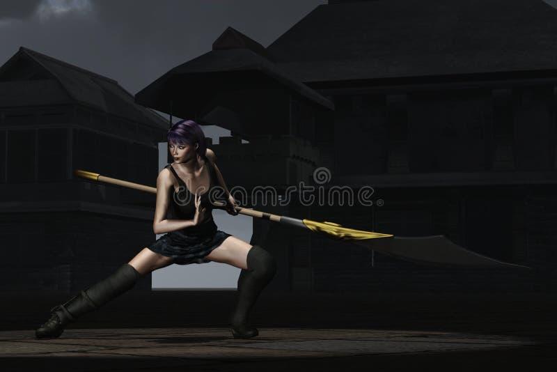 Ninja femelle d'imagination dans la cour de shaolin illustration stock