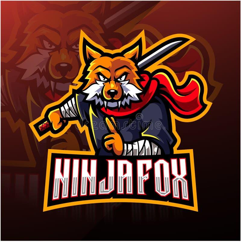 Free Ninja Fox Esport Mascot Logo Design Royalty Free Stock Image - 164296476