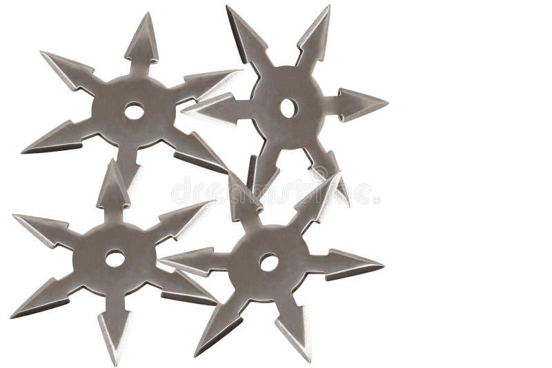 Ninja geheime die wapens op witte achtergrond worden geïsoleerd stock afbeelding
