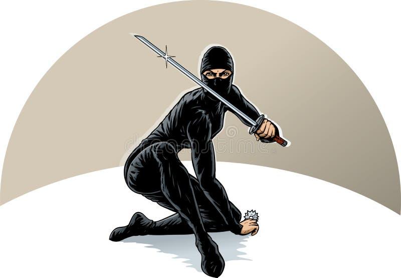 Ninja girl royalty free illustration