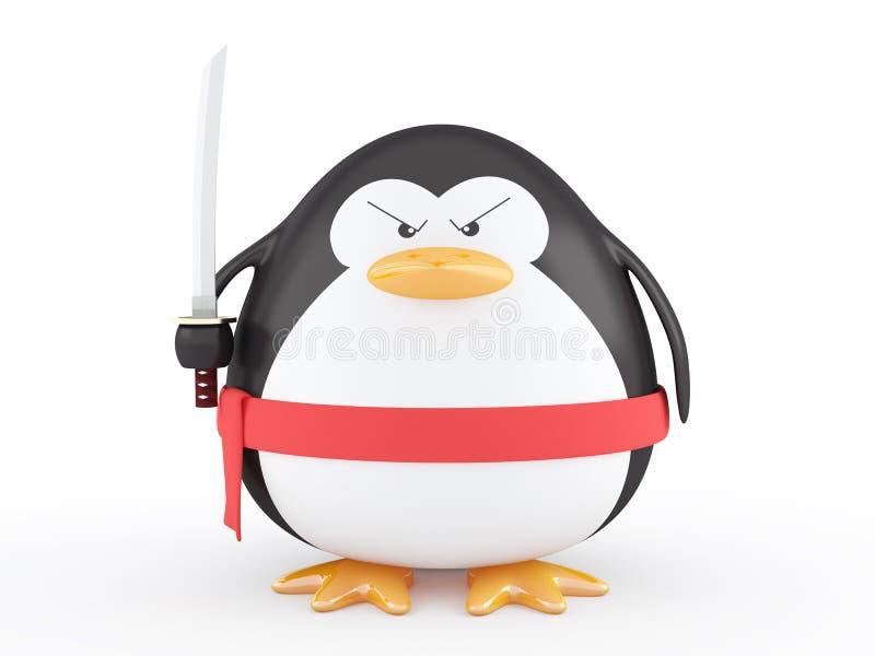 ninja gruby pingwin ilustracja wektor