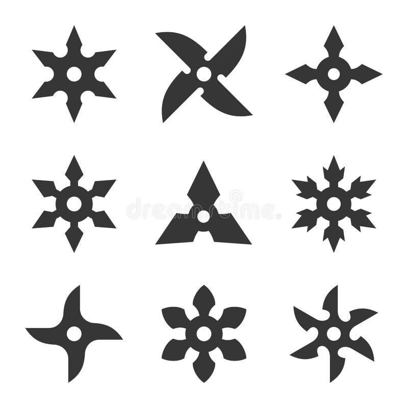 Ninja gwiazdy ikony set royalty ilustracja