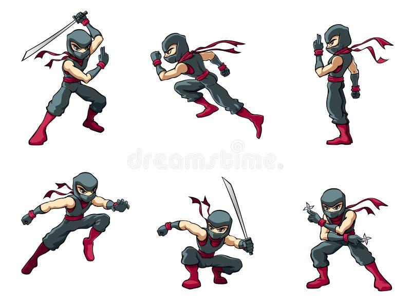 Ninja i handlingar 01 vektor illustrationer