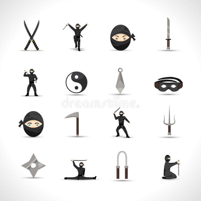 Ninja Icons Set ilustração do vetor