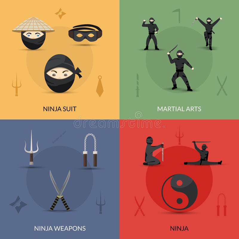 Ninja Icons Set stock illustrationer