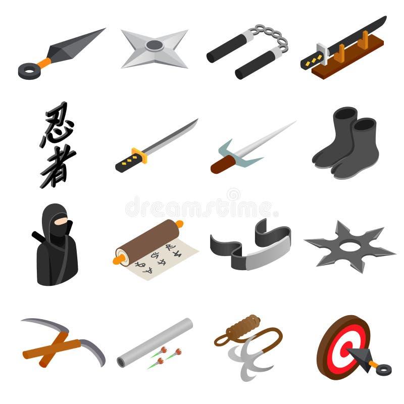 Ninja isometrisch 3d pictogram stock illustratie