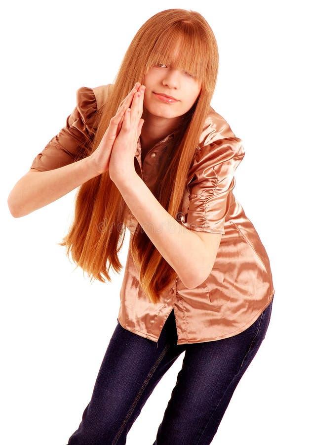 Ninja jugendlich Mädchenhaltung stockfoto