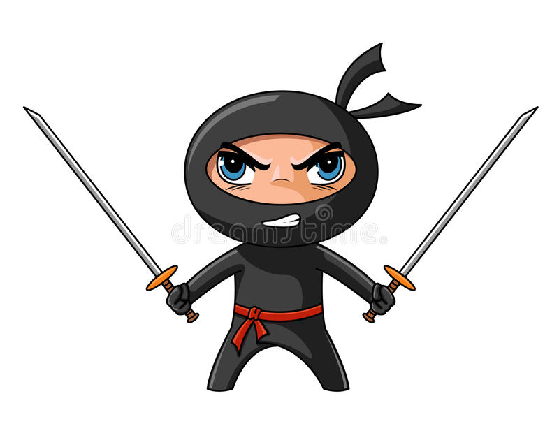 Ninja with katana stock illustration