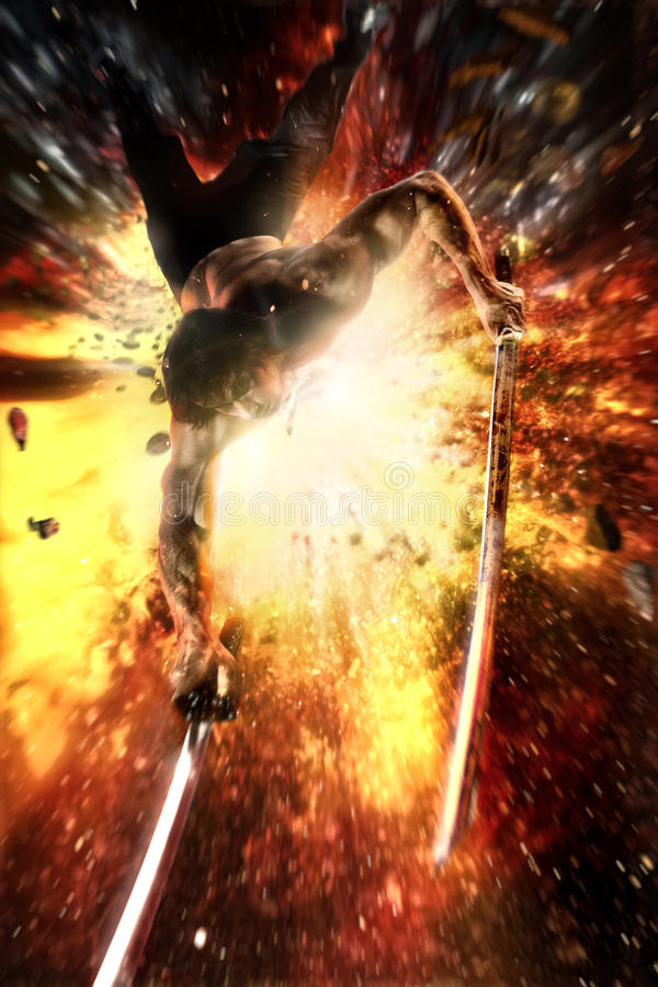 Ninja katana in his hand flying jumps away from an explosion royalty free stock photography