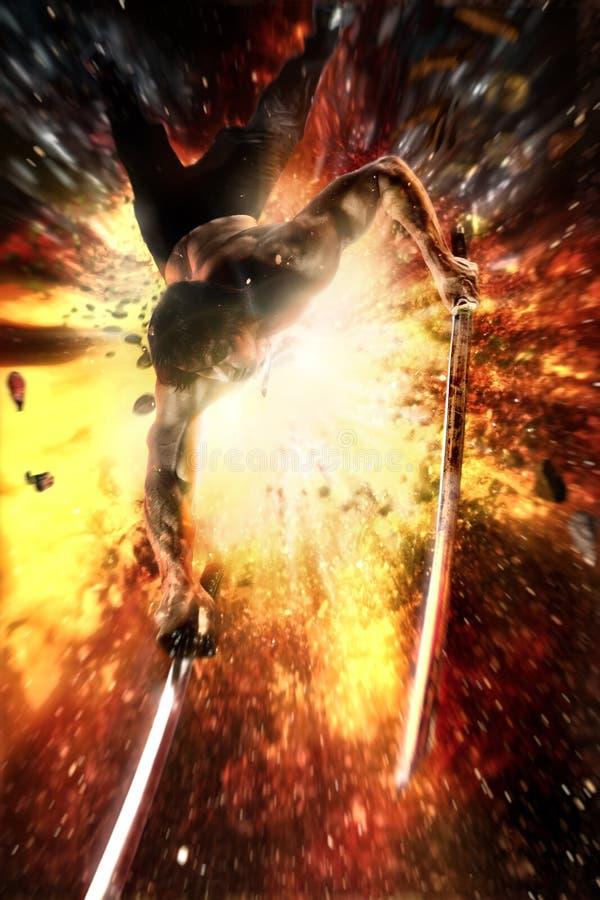 Ninja katana i hans handflyghopp i väg från en explosion royaltyfri fotografi