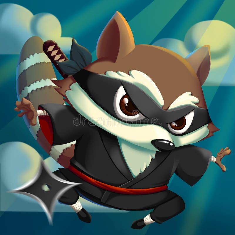 ¡Ninja KungFu Raccoon! ilustración del vector