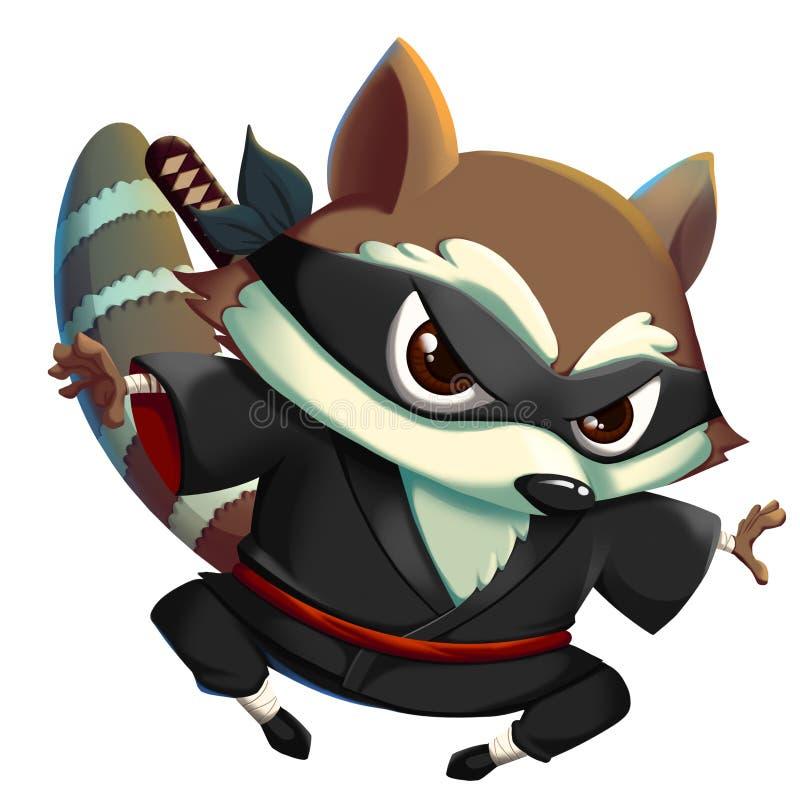 Ninja KungFu Raccoon isolated on White Background. vector illustration