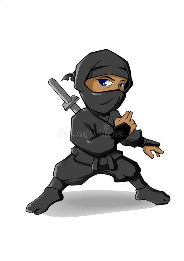 Ninja Cartoon Character. Vector Mascot Illustration. royalty free stock image