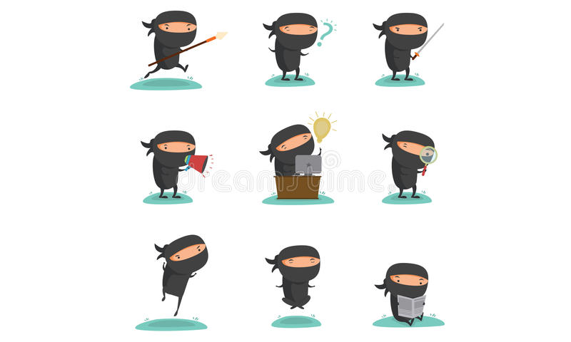 Ninja Mascot Set 1 stock illustratie