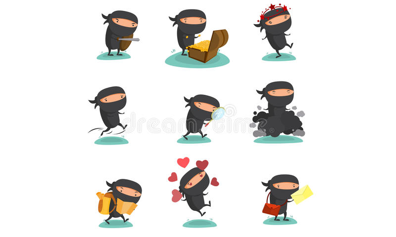 Ninja Mascot Set 4 vector illustratie