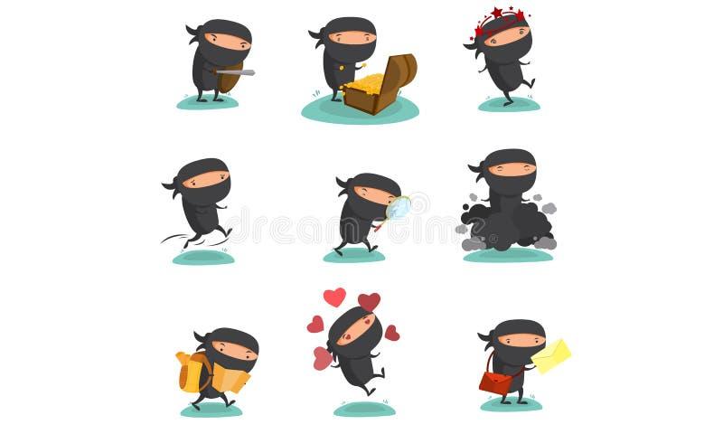 Ninja Mascot Set 4 ilustração do vetor
