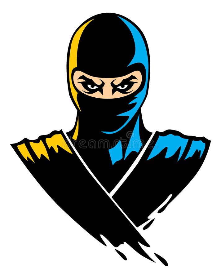 Ninja-Maskottchen im Farbeneffekt lizenzfreie abbildung