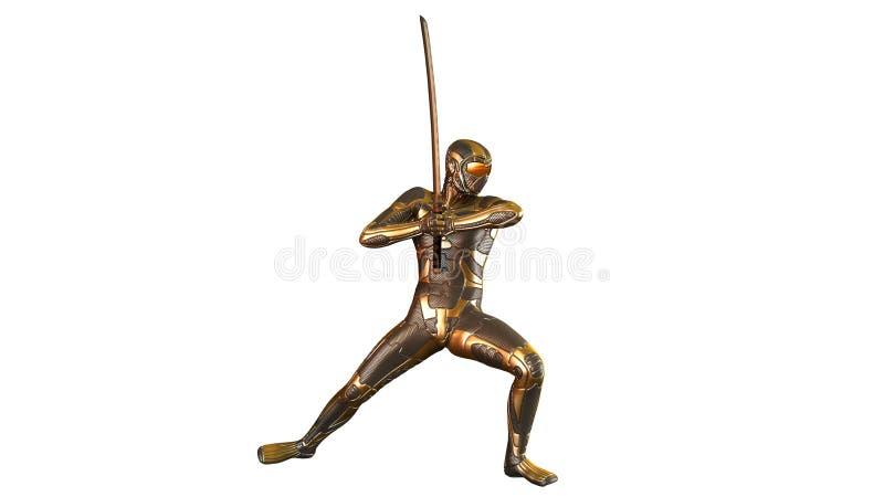 Ninja met katanazwaard die gouden die pantser, strijder dragen op wit wordt geïsoleerd vector illustratie