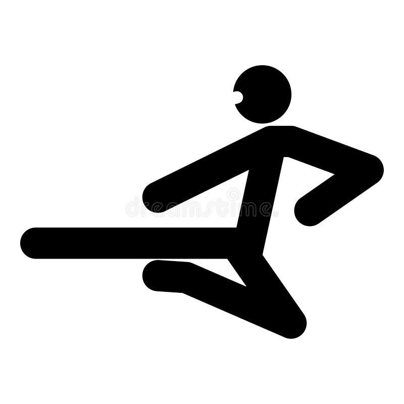 Ninja met van de het pictogram het zwarte kleur van de schopstok van de de illustratie vlakke stijl eenvoudige beeld vector illustratie