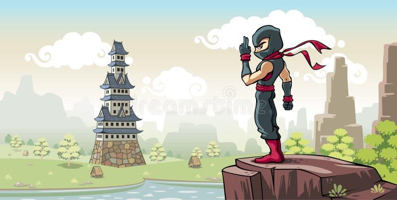 Ninja no monte ilustração stock