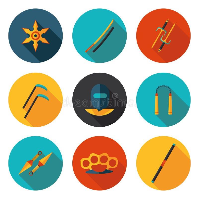 Ninja plat d'icônes illustration libre de droits