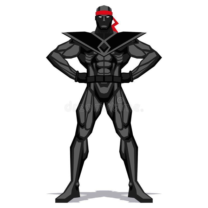 Ninja Posing Isolated On vitbakgrund stock illustrationer