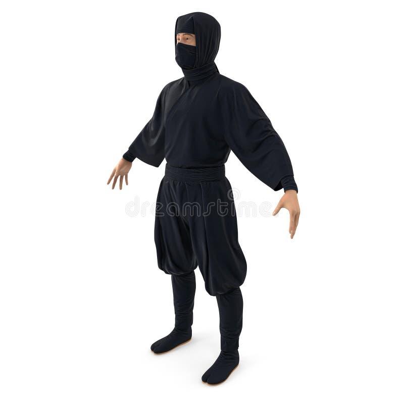 Ninja pozycji poza Na Białym tle 3d ilustracja, odizolowywająca ilustracja wektor