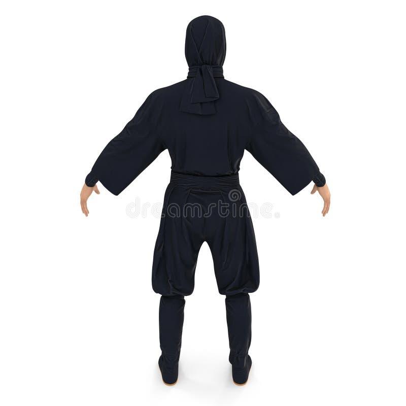 Ninja pozycji poza Na Białym tle 3d ilustracja, odizolowywająca ilustracji