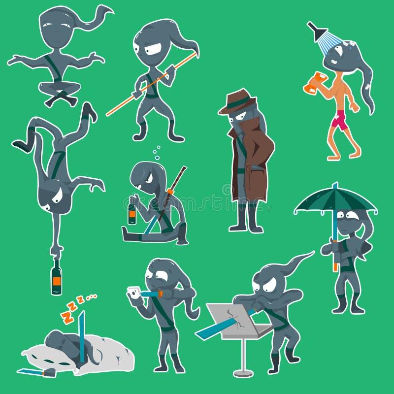 ninja 10 réglé illustration de vecteur