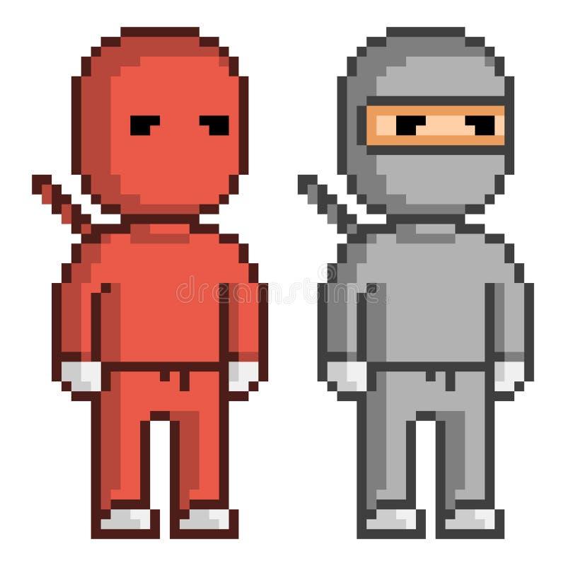 Ninja rojo y negro del arte del pixel del vector libre illustration