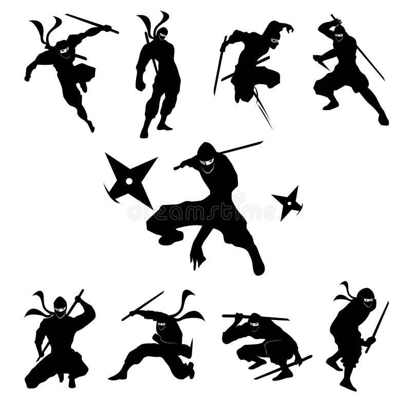 Ninja Shadow konturvektor stock illustrationer
