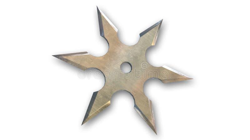 Ninja shuriken la stella isolata su bianco illustrazione di stock