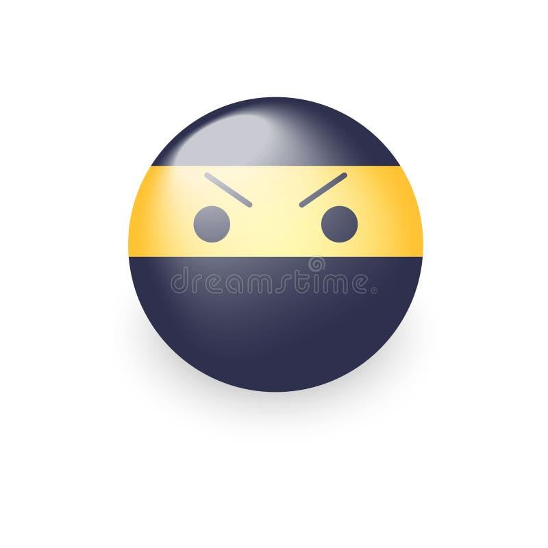 Ninja sonriente con una cara enojada del emoji Icono del vector del emoticon de la historieta de Ninja stock de ilustración