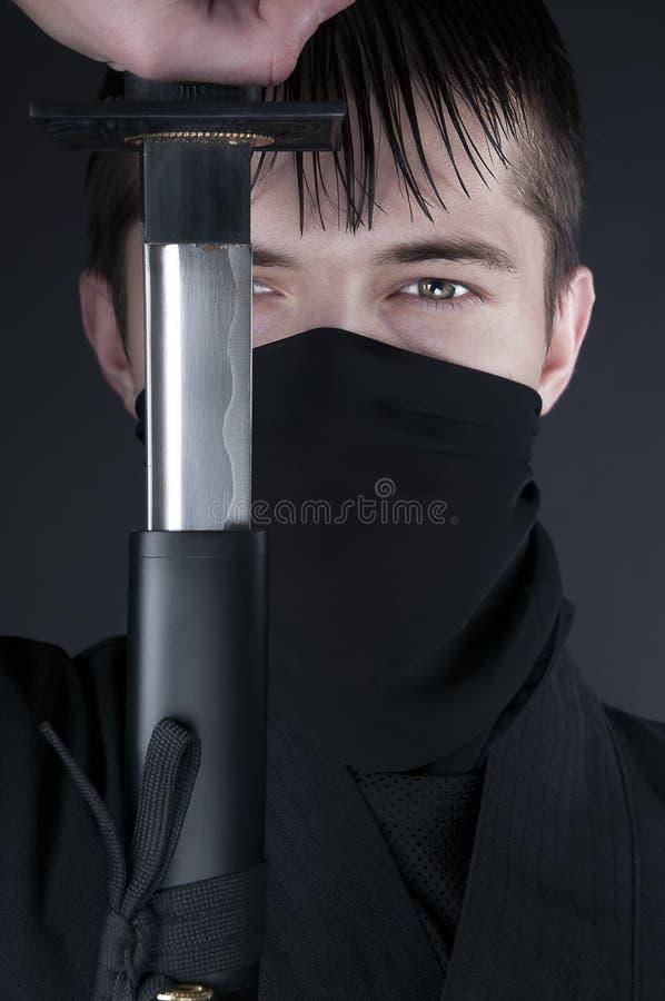 Ninja - spion, saboteur, heimelijkheidsmoordenaar van feodaal Japan. royalty-vrije stock afbeeldingen