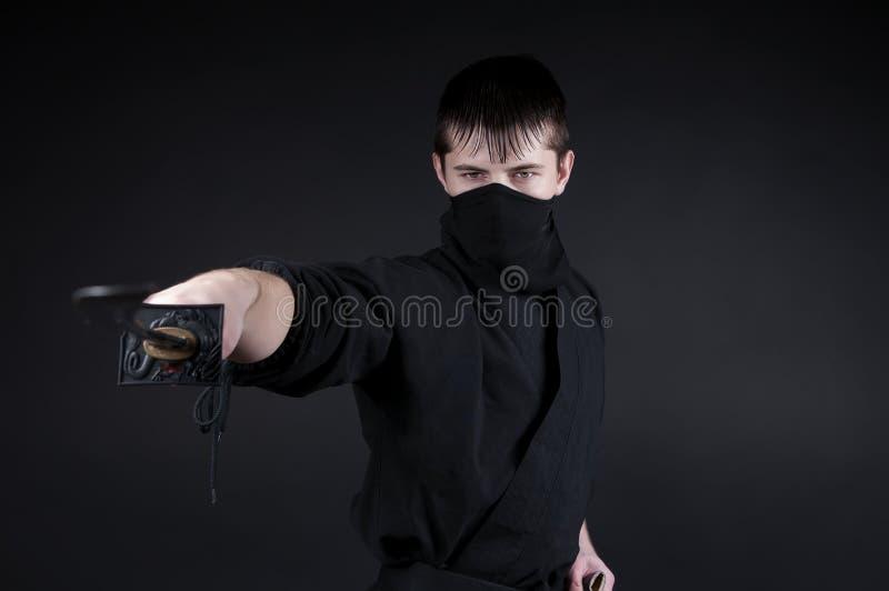 Ninja - spion, saboteur, heimelijkheidsmoordenaar van feodaal Japan. stock afbeelding